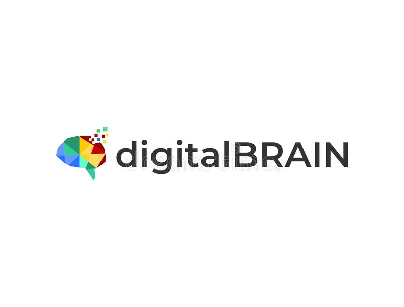 Digital brain logo template vector illustration