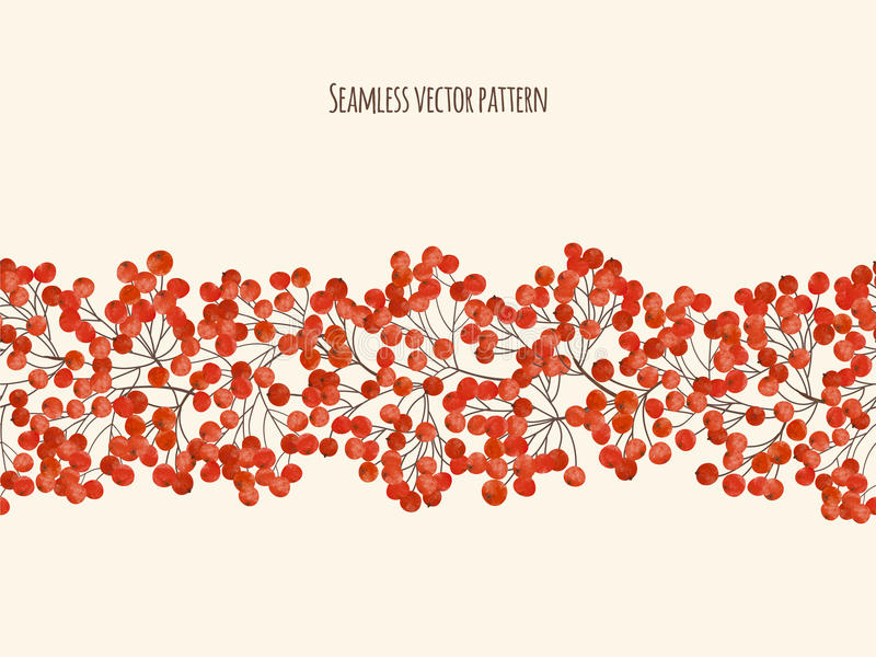 Illustration with branches rowan berry vector illustration