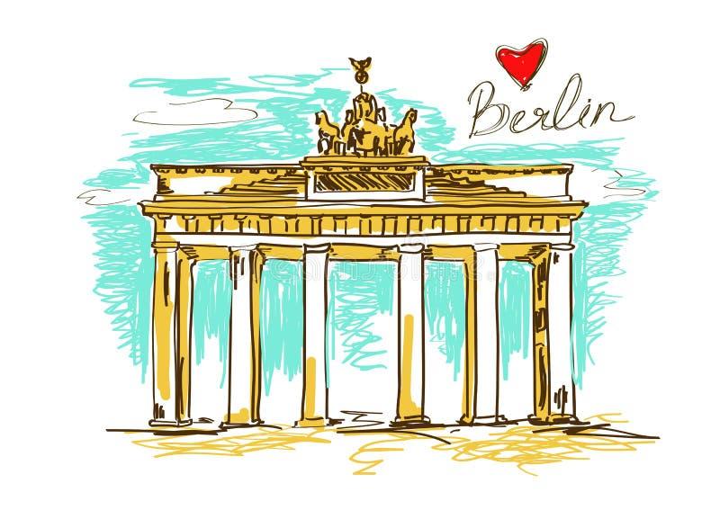 Illustration of Brandenburg gate in Berlin stock illustration