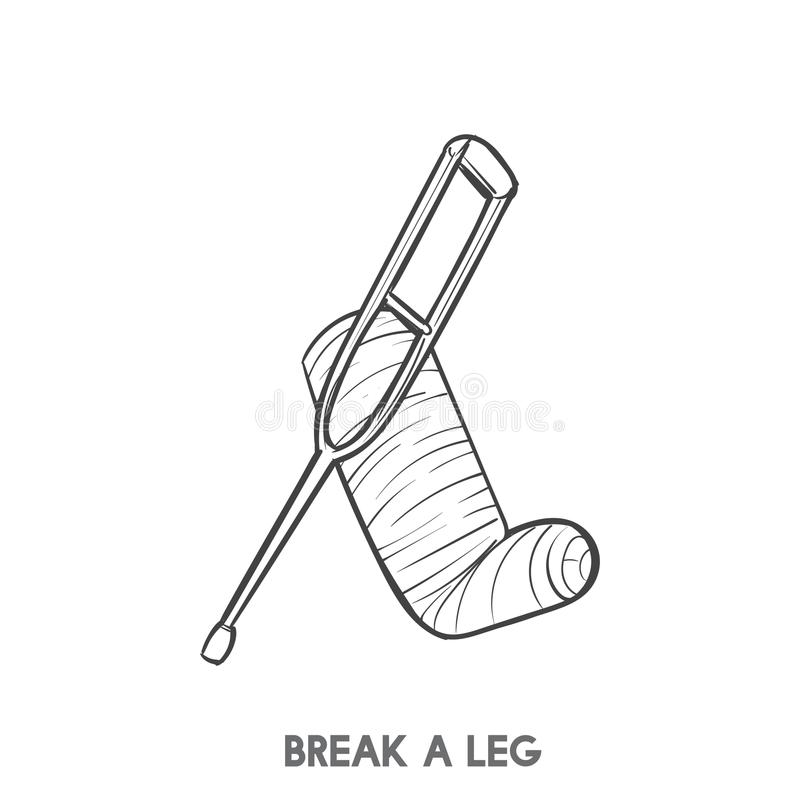 Illustration of a break a leg. And a support stick stock illustration