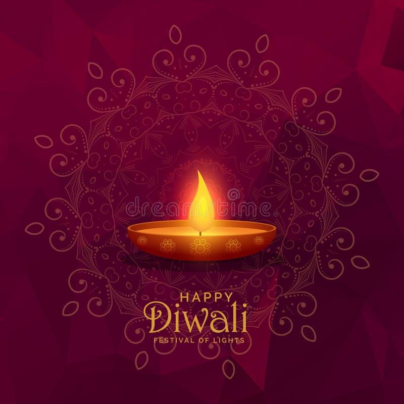 Illustration brennendes diya des glücklichen diwali Festivalhintergrundes stock abbildung