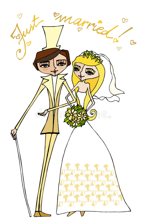 Illustration of bride and groom royalty free illustration