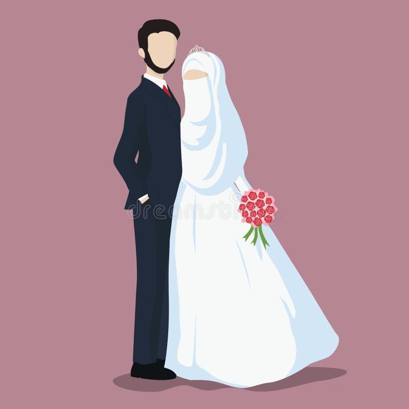 Illustration of Bride and Groom, Wedding Couple Cartoon Vector. stock illustration