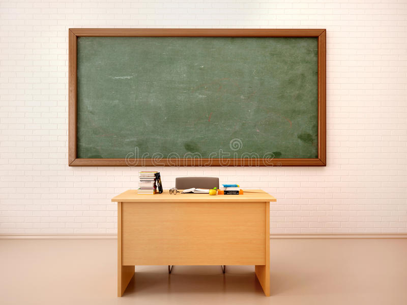 Illustration of bright empty classroom with blackboard and te. 3d illustration of bright empty classroom with blackboard stock image
