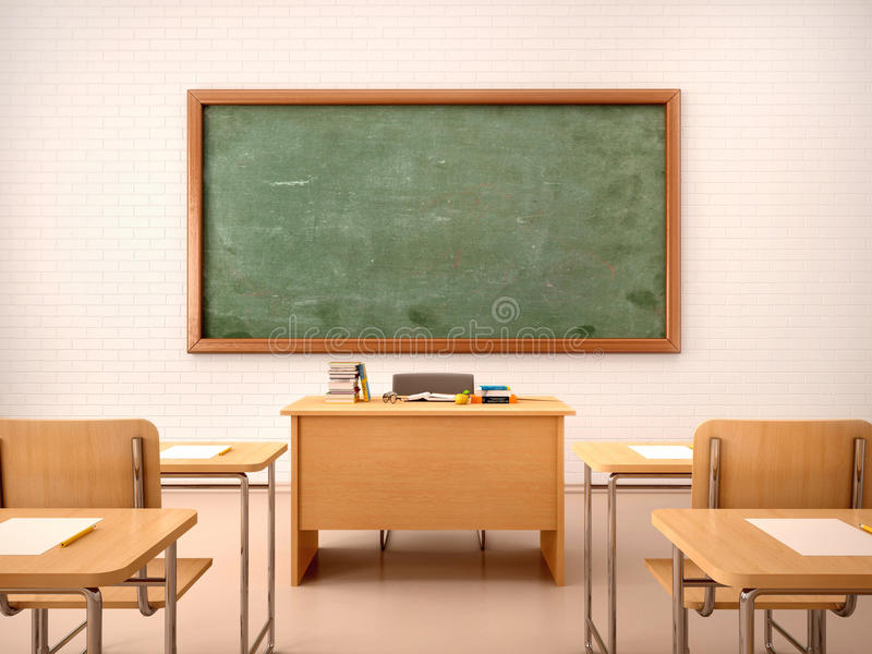 Illustration of bright empty classroom for lessons and traini. 3d illustration of bright empty classroom for lessons and traini royalty free stock images