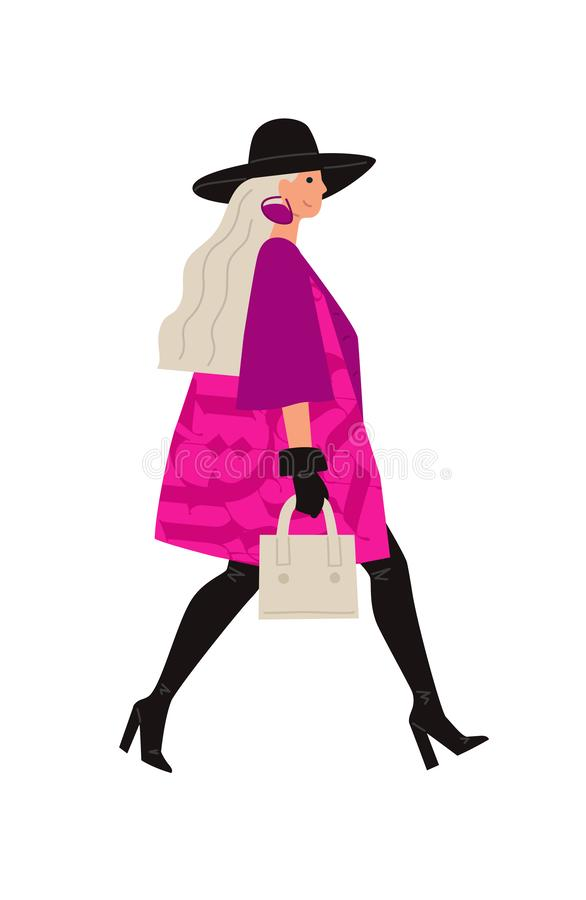 Illustration of a bright girl in a black hat. Vector. Glamorous image of a lady in pink. Flat style vector illustration