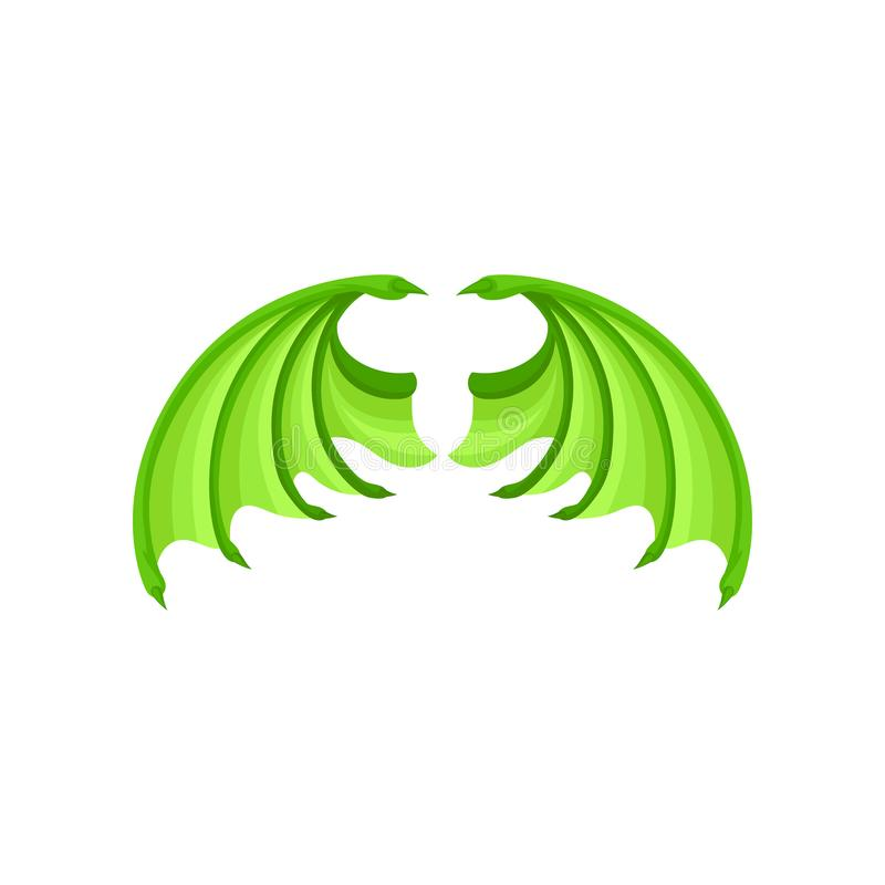 Bright green dragon wings. Attribute of kids masquerade costume. Flat vector element for children book or sticker stock illustration