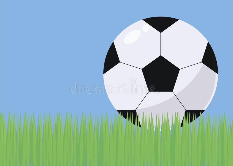 Illustration with bright green grass football field blue sky and black and white voluminous simple soccer ball with gloss and shad stock illustration