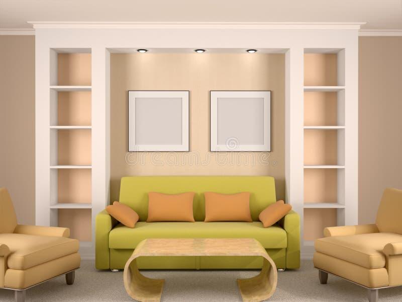 Illustration of bright interior room stock illustration