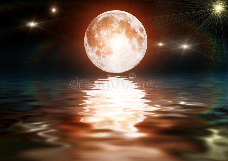 Illustration of a bright moon on dark water. Nice scenery with bright moon reflected on water royalty free illustration