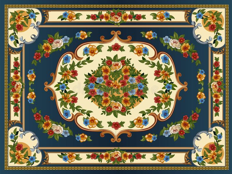 bright multicolored carpet with floral ornaments royalty free illustration