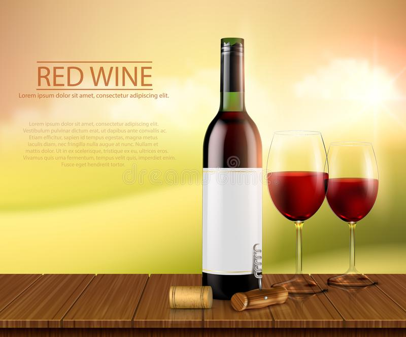 Realistic illustration, poster with glass wine bottl and glasses with red wine vector illustration
