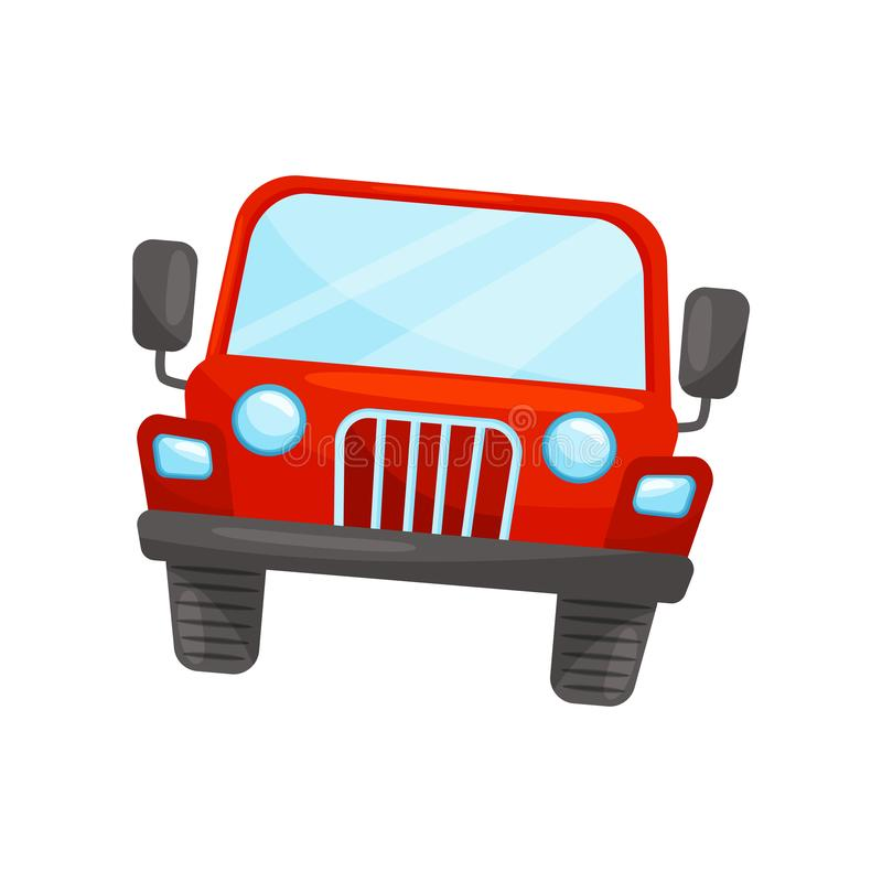 Flat vector icon of bright red jeep, front view. Passenger automobile. Transport for riding by desert vector illustration