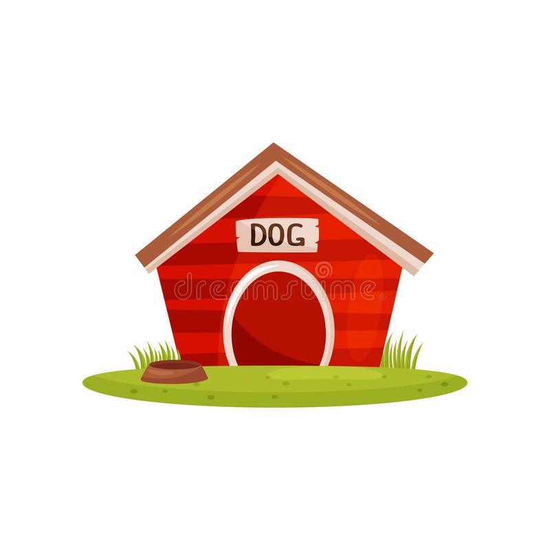 Flat vector icon of bright red wooden dog house and brown water bowl on green lawn. Booth of pet. Farm theme vector illustration