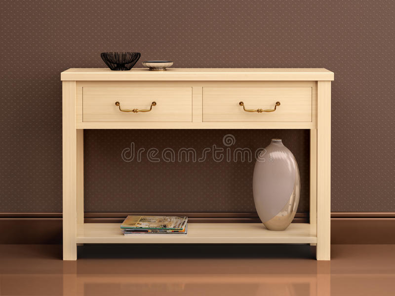 Illustration of bright wooden chest of drawers in dark interi. 3d illustration of bright wooden chest of drawers in dark interi stock illustration