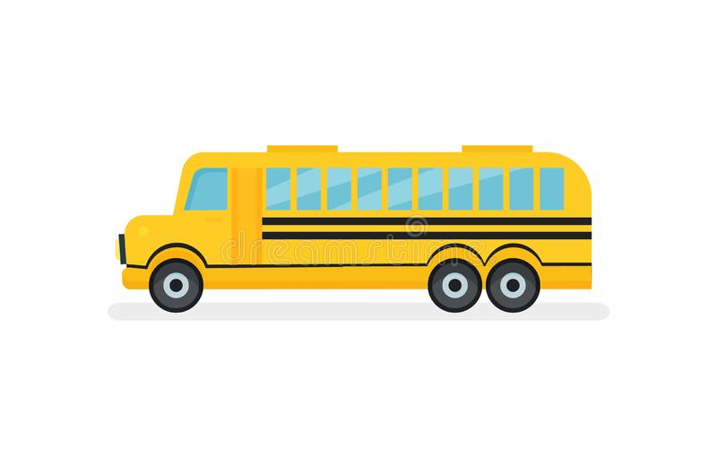 Yellow school bus with black stripes. Passenger motor vehicle. Urban transport. Flat vector icon. Illustration of bright yellow school bus with black stripes royalty free illustration
