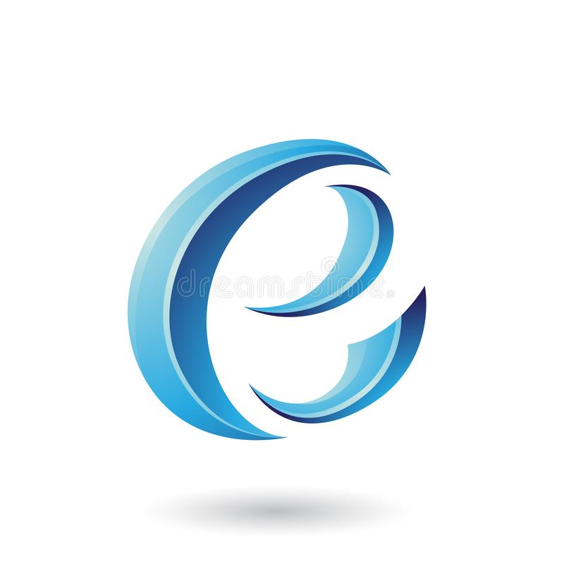 Illustration brillante bleue de vecteur de Crescent Shape Letter E illustration de vecteur