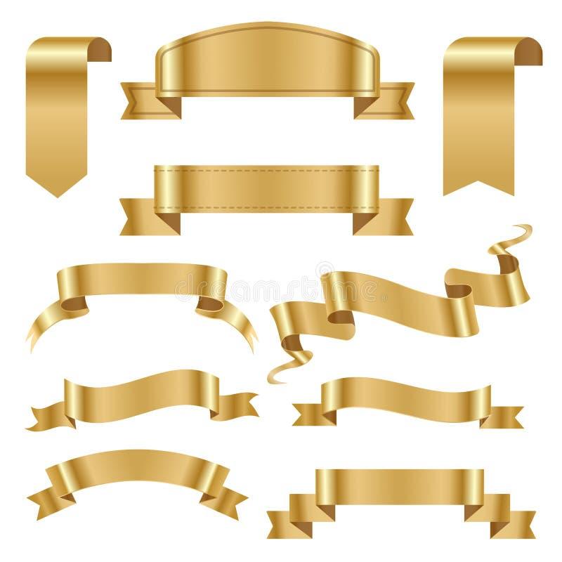 Illustration brillante classique de vecteur de rouleau de ruban de bande de bannière d'arc d'or de drapeau illustration de vecteur