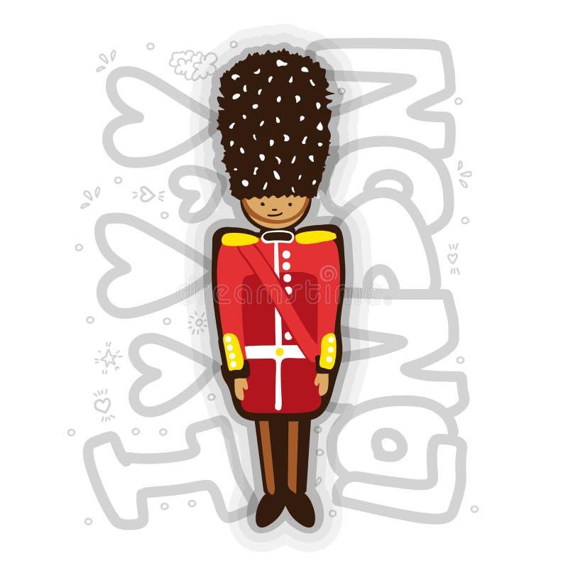 Illustration BRITANNIQUE de bande dessinée d'In Uniform de garde de la Reine de Buckingham Palace Illustration d'amusement de gar illustration libre de droits