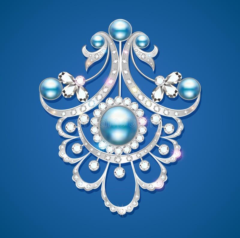 brooch with pearls and precious stones. Filigree v vector illustration