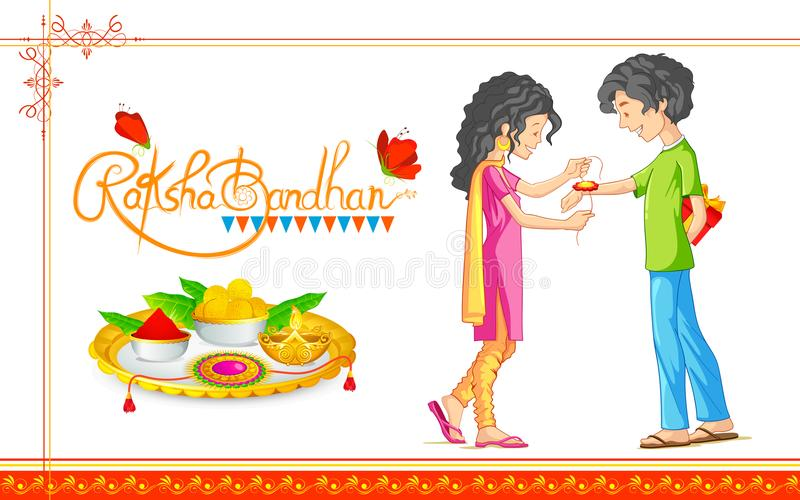 Brother and Sister tying rakhi on Raksha Bandhan, Indian festival. Illustration of brother and sister tying rakhi on Raksha Bandhan, Indian festival vector illustration