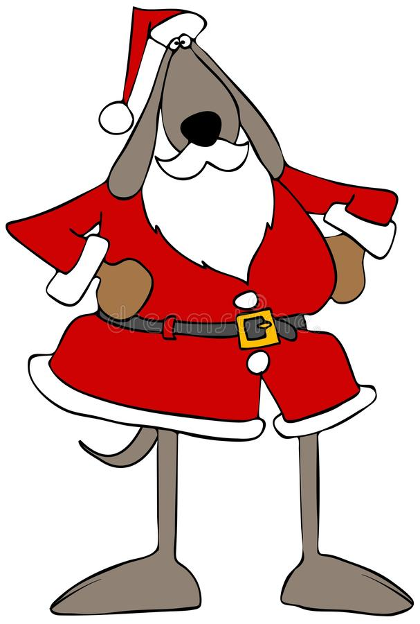 Brown dog wearing a Santa Claus outfit royalty free illustration