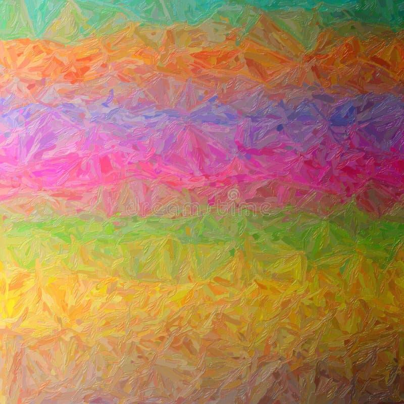 Illustration of brown, green, magenta, blue and orange large color variation impasto square background. Illustration of brown, green, magenta, blue and orange stock illustration