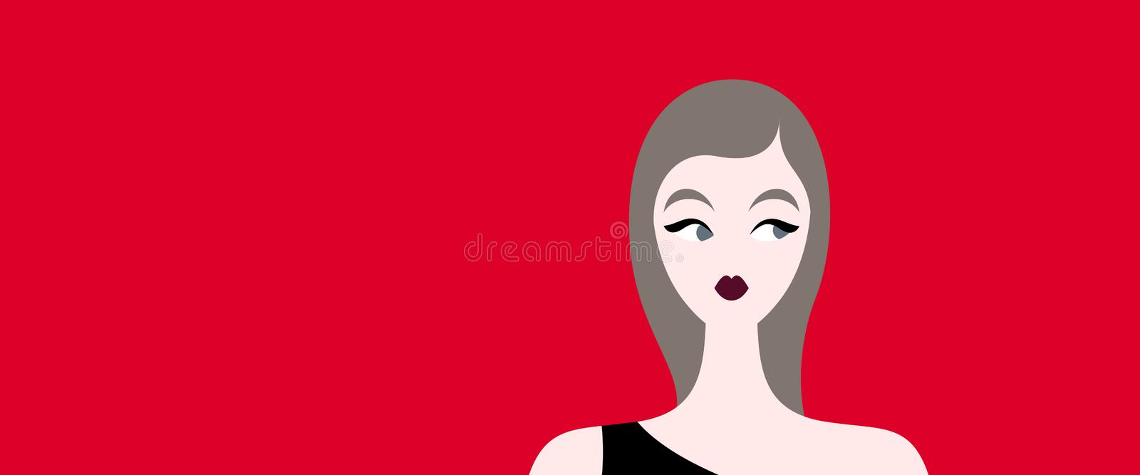 Brown haired woman vector illustration