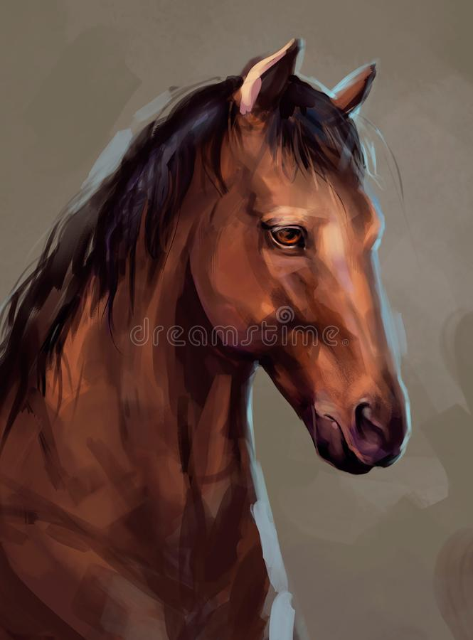 Illustration of a brown horse stock illustration