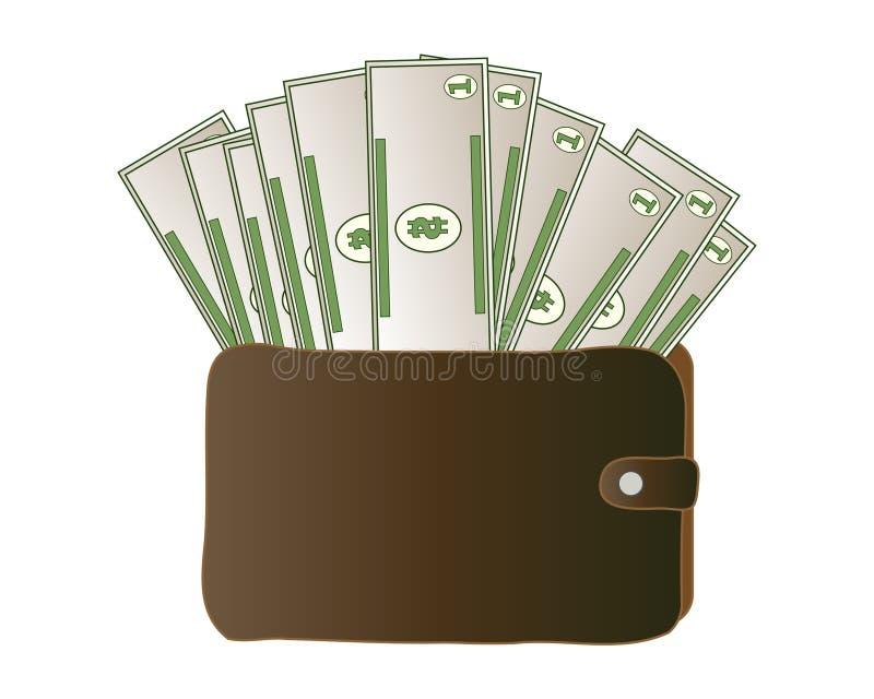 Money wallet full of dollar bills in brown leather. An illustration of a brown leather wallet full of dollar bills on a white background vector illustration