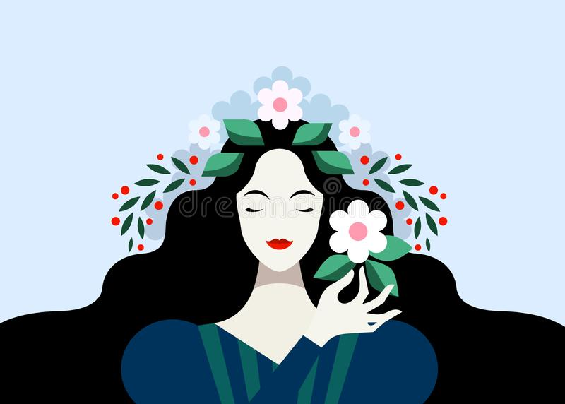 Brunette woman with flowers royalty free illustration