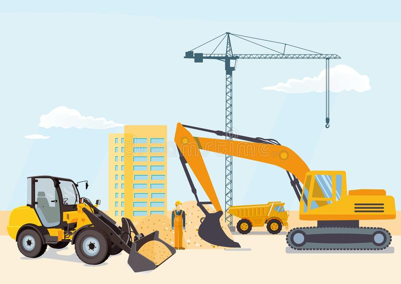 Excavator and wheel loader on a building site royalty free illustration