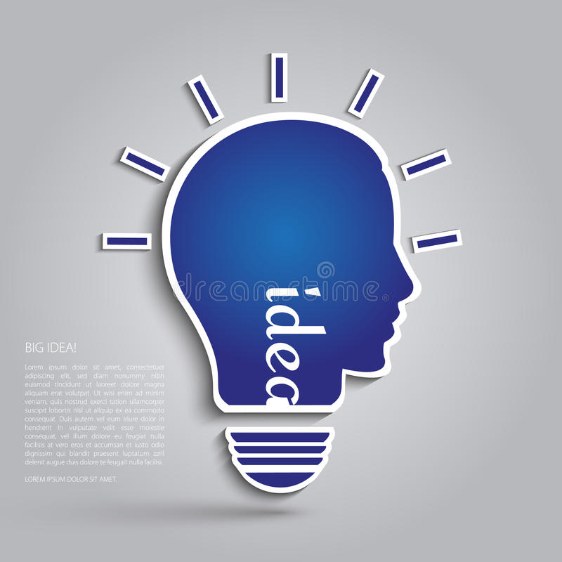 Illustration of bulb with silhouette human face. royalty free illustration