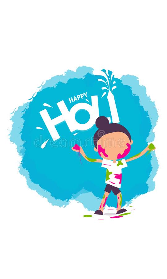 Illustration bunten glücklichen Holi-Hintergrundes für Festival von Farbfeiergrüßen - Vektor vektor abbildung