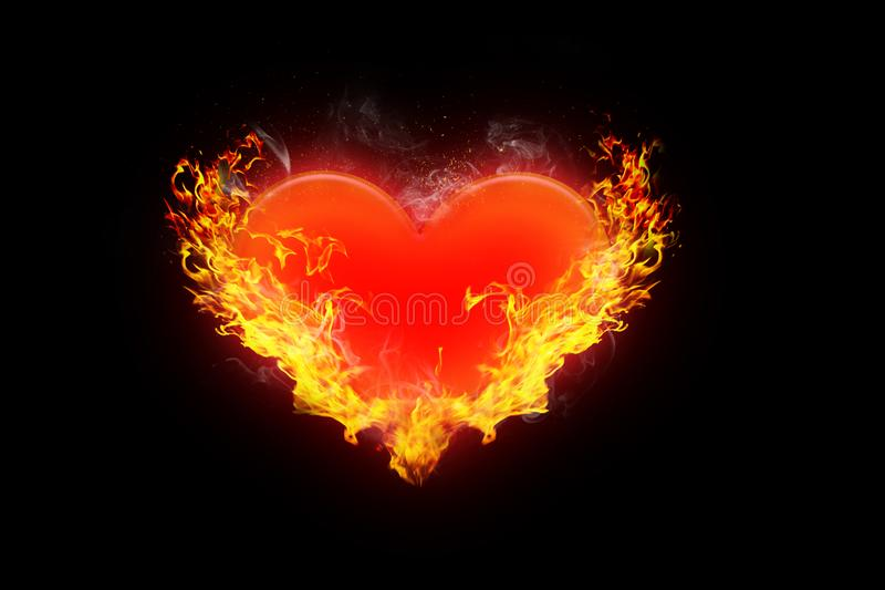Illustration of Burning red heart surrounded by orange flames on a conceptual black background of love, romance and valentine. An illustration of Burning red stock illustration