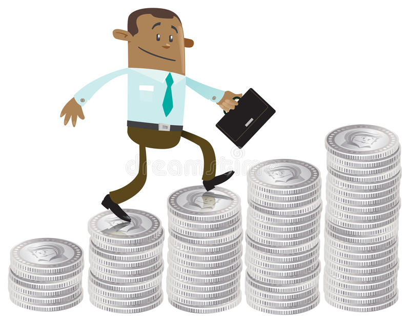 Business Buddy climbs up the money hill. Illustration of Business Buddy climbing up a money shaped bar chart stock illustration