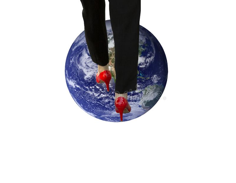 Conquer the world metaphor. Illustration of the `business conquering the world` metaphor royalty free stock photos