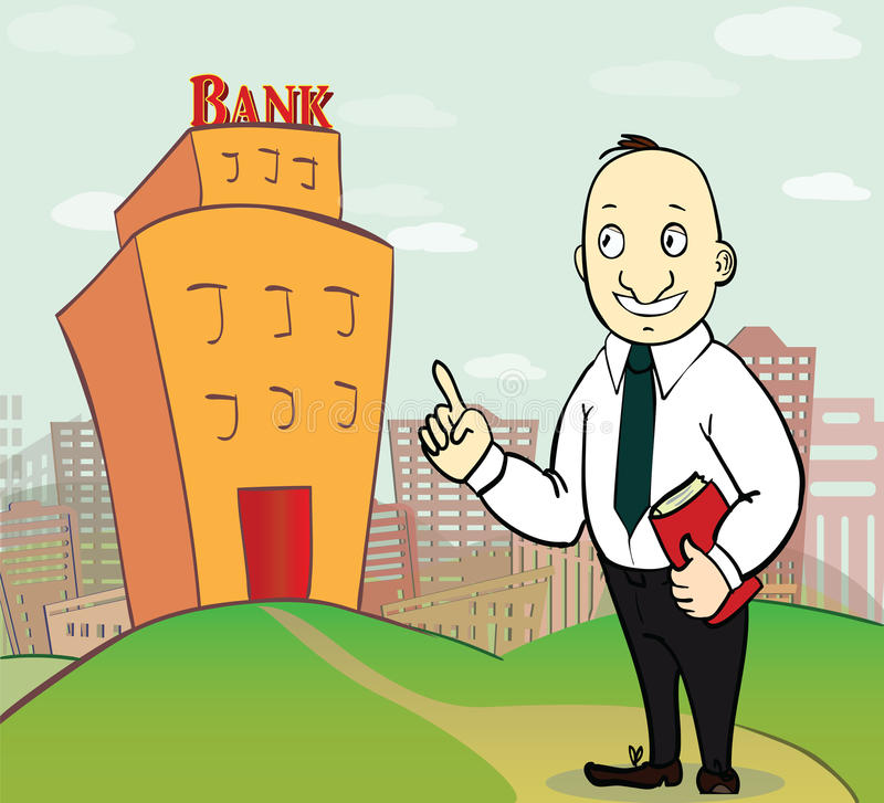 Illustration of business man going to bank stock illustration