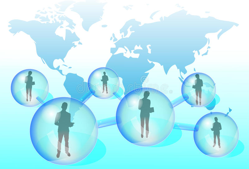 Illustration of business people in social network vector illustration