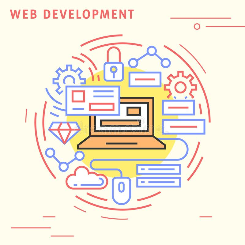Web development flat line banner and landing page. Illustration for business and technology. Illustration for business and technology. Web development flat line stock illustration