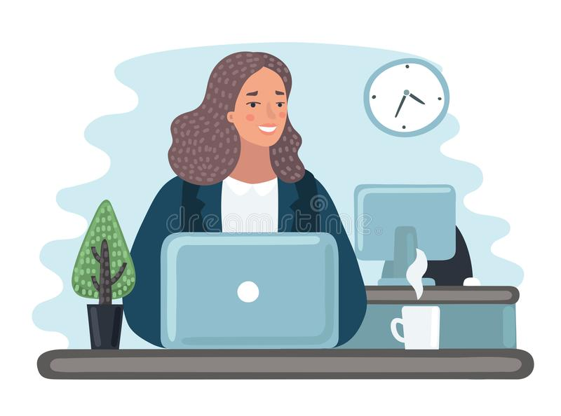 Illustration business women with documents in office - vector royalty free illustration