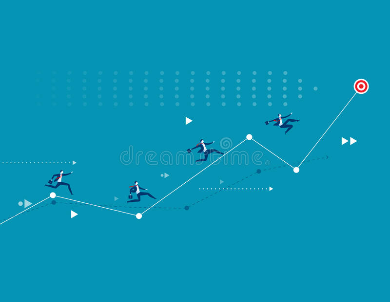Illustration of businessman racing up arrow towards target royalty free illustration
