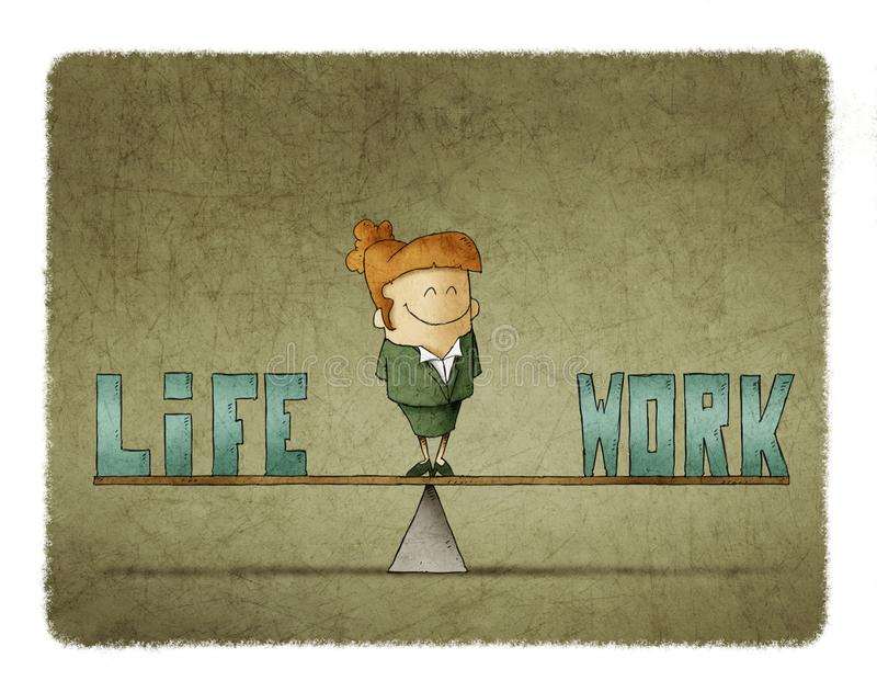 Businesswoman on a scale in which are the words work and life. Illustration of businesswoman on a scale in which are the words work and life vector illustration