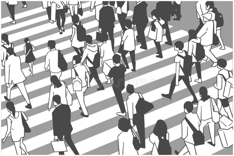 Illustration of busy city crowd crossing zebra in perspective royalty free illustration