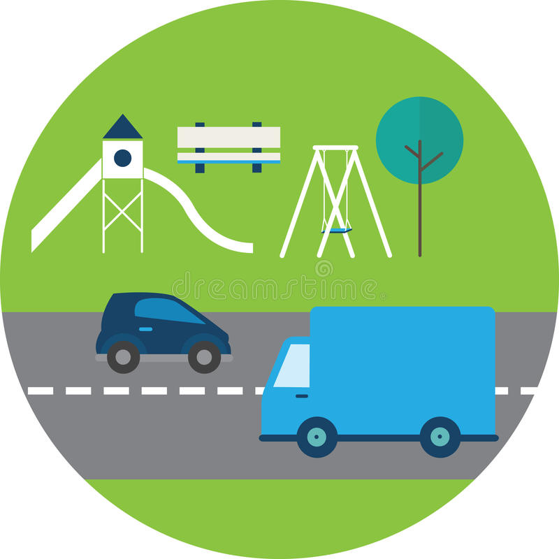 Illustration Of Busy Road Next To Playground vector illustration