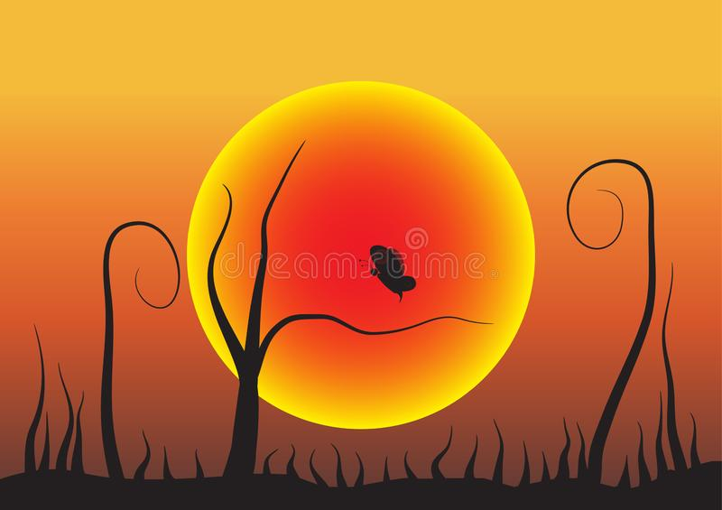 Illustration with butterflies and grass at sunset. Is a general illustration vector illustration