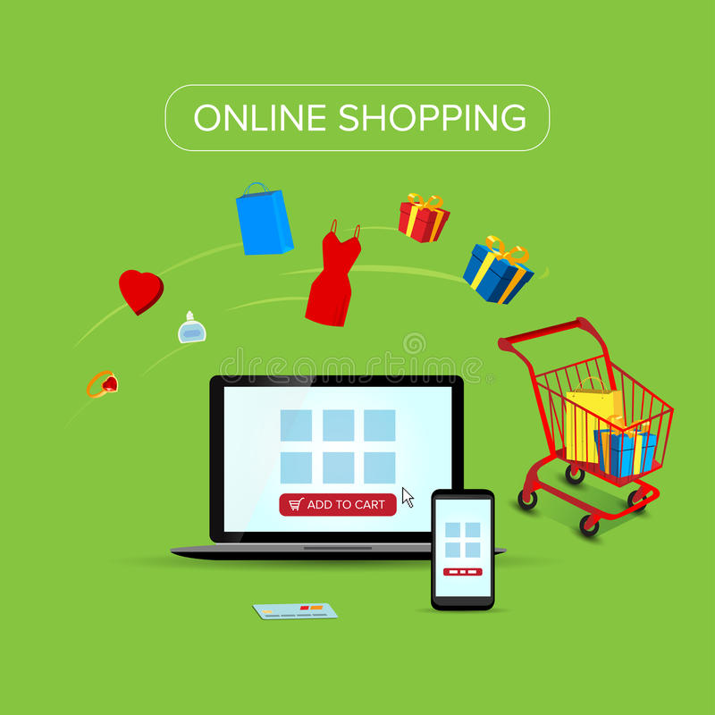 Illustration of buying and shopping online with vector icons. Mobile payment and ecommerce infographics royalty free illustration