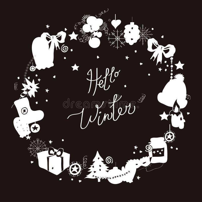 Illustration, cadre, silhouette blanche sur un fond noir Ensemble d'éléments d'hiver et de caractères de fête de Noël Capti illustration stock