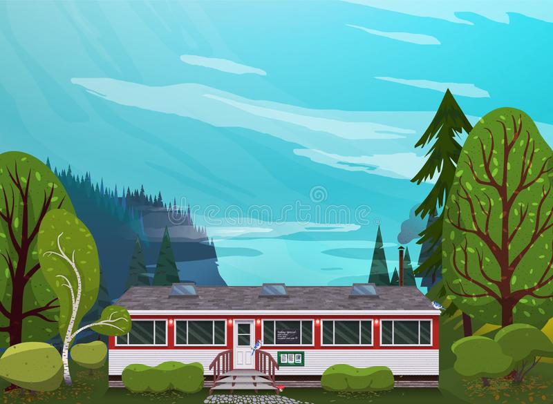 Illustration of a cafe house in recreation area. Flat art style. stock image