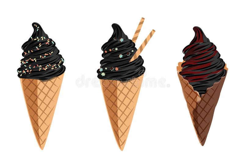 Black vector ice cream set. Illustration for cafe and restaurant menu. stock illustration
